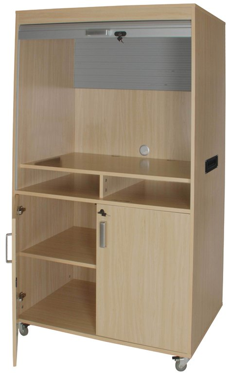 Mueble TV y video alto con persiana